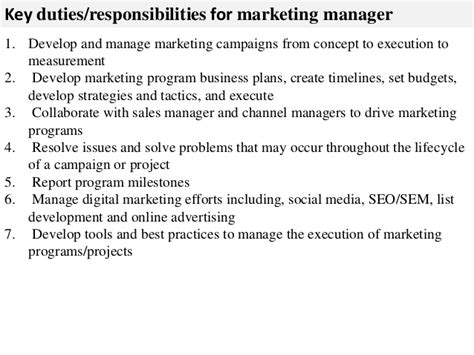 Marketing Project Manager Description by Marketing Manager Description