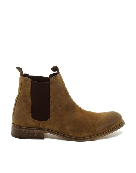 fred perry selected homme suede chelsea boots in brown for