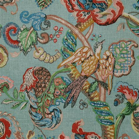 sanderson upholstery fabric poppinjay linen thirties blue green ian sanderson
