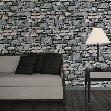wallpaper 3d stone muriva dry stone wall 3d effect wallpaper grey http
