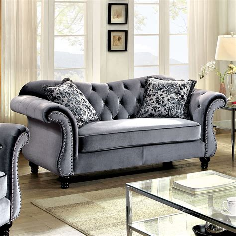 Chenille Sofas And Loveseats Furniture Of America Gellia Chenille Loveseat Home
