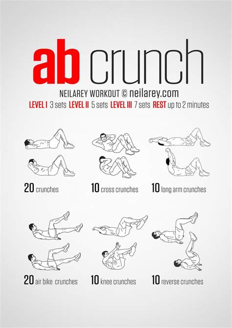 6 exercises 6 pack no equipment crunch workout all fitness levels print use u do it