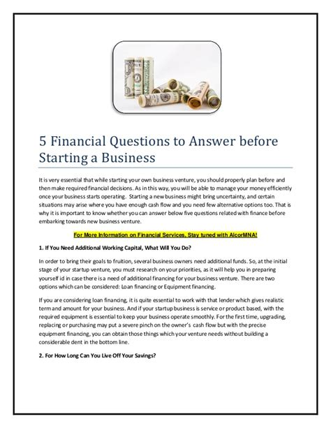 5 financial questions to answer before starting a 5 financial questions to answer before starting a business