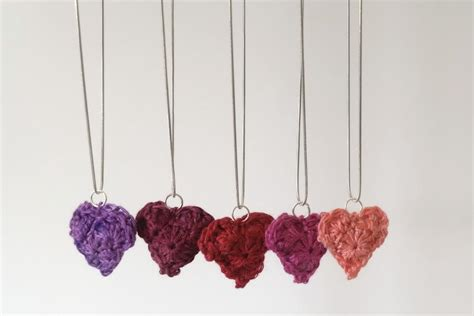 crochet pattern for heart necklace be mine crochet heart pendant allfreecrochet com