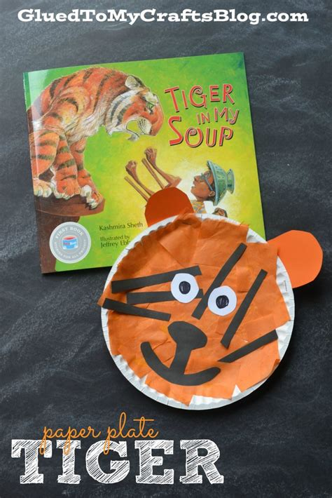 paper plate tiger kid craft glued to my crafts