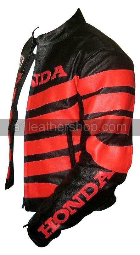 red and black motorcycle jacket honda motorbike racing leather jacket with red stripes