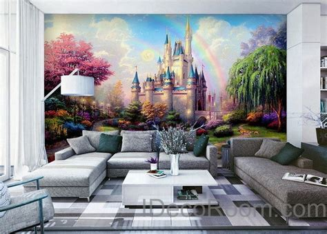 disney castle wall mural 3d tinkerbell castle wall paper rainbow disney princess castle wallpaper wall decals wall