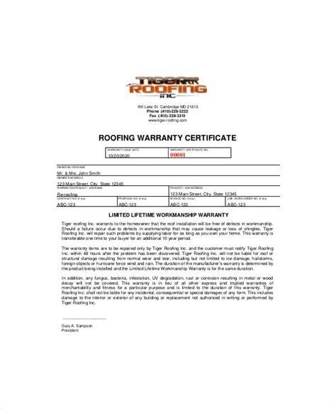 warranty certificate template word documents