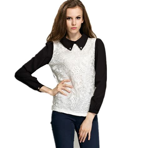 Basic V Knitted Blouse Diskon 2017 blouses 2017 new fashion autumn pan collar sleeve patchwork lace chiffon shirt