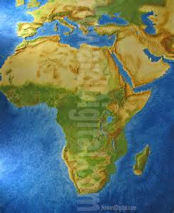 Topographic Map Of Africa by Topographical Map Of Africa