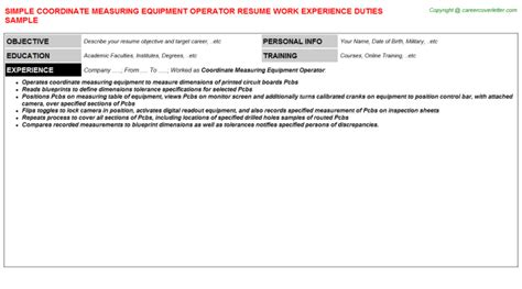 Cmm Operator Cover Letter by Coordinate Measuring Machine Cmm Operator Resumes Sles Descriptions And Duties