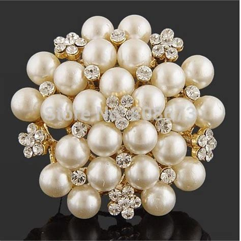 25033 White Pearl Brooch Top exquisite imitation pearl flower pin brooch diamante