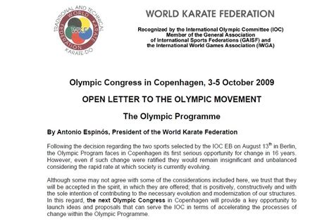 Karate Letter Shiramizu Japan Karate World Karate Federation President Letter Re Olympics