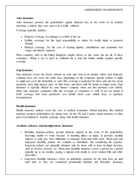 insurance summary template project report on insurance