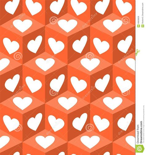 gift paper pattern vector free 3d cube patterns with white heart shapes on orange
