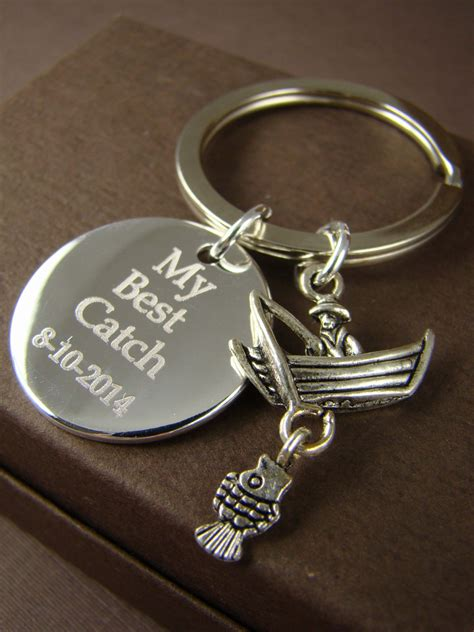 gift for him personalized fishing key ring my best catch