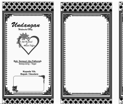 template kartu nama hitam putih desain undangan walimatul ursy desain unni