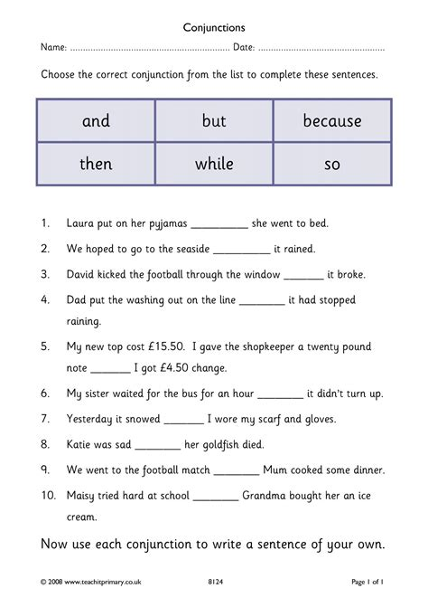Printable Conjunction Quiz | free printable connectives worksheet for grade 5