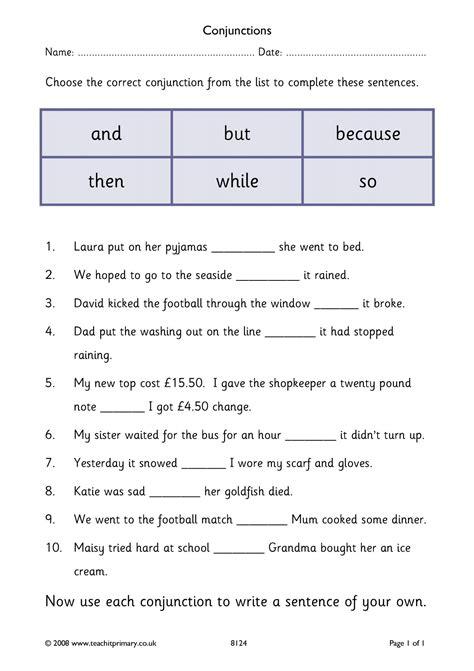 printable english worksheets ks1 eyfs ks1 ks2 conjunctions and connectives teachit