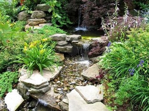 Rock Garden Waterfall 635637 Up Of A Small Stepped Waterfall And Pool In A Landscaped Garden