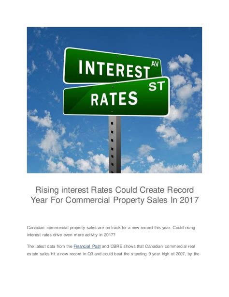 Commercial Property Sales Records Rising Interest Rates Could Create Record Year For Commercial Propert