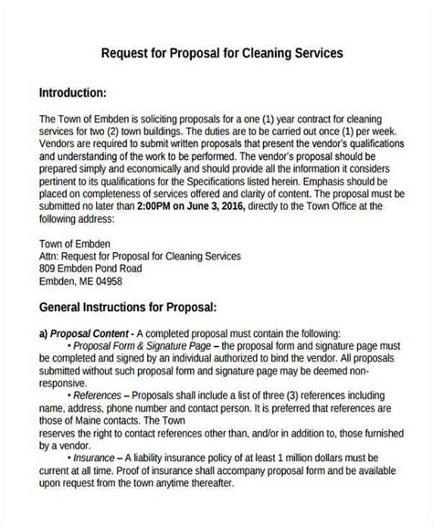 Cleaning Service Proposal Templates 8 Free Word Pdf Format Download Free Premium Templates Rfp For Cleaning Services Template