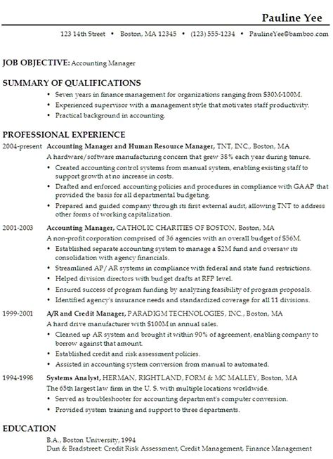 Resume Job Objective Accounting by Career Objective Resume Accountant