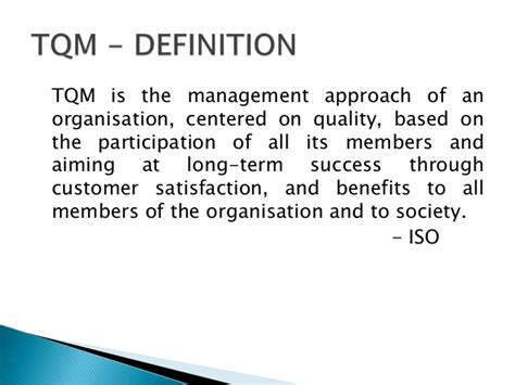 Tqm Notes For Mba Students by Tqm Framework Benefits And Obstacles