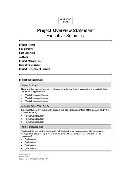 project overview statement statements templates