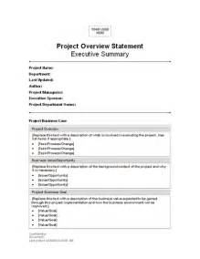 Project Overview Template by Project Overview Statement Statements Templates