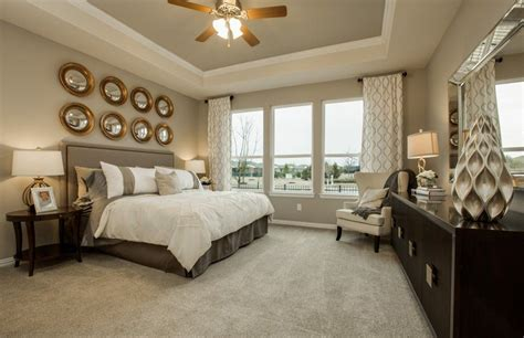 master bedroom with flush light carpet in richmond tx