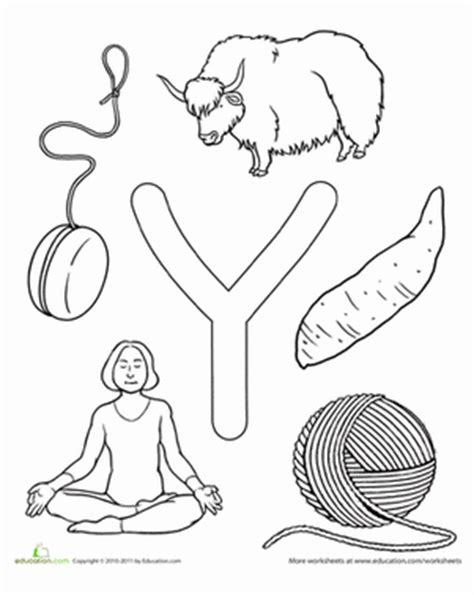 Letter Y Coloring Pages For Preschoolers by Y Is For Worksheet Education