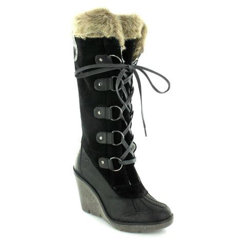 bronx 13743 a womens suede leather faux fur trim wedge