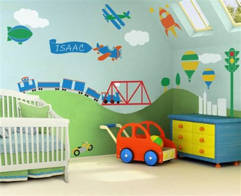 Wall Mural Inspiration Ideas For Little Boys Rooms Transportation Nursery Decor