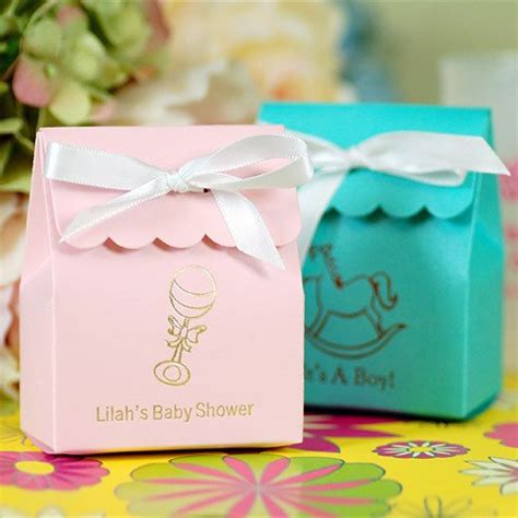 What To Put In Baby Shower Favor Bags by Personalized Scalloped Baby Shower Favor Bag