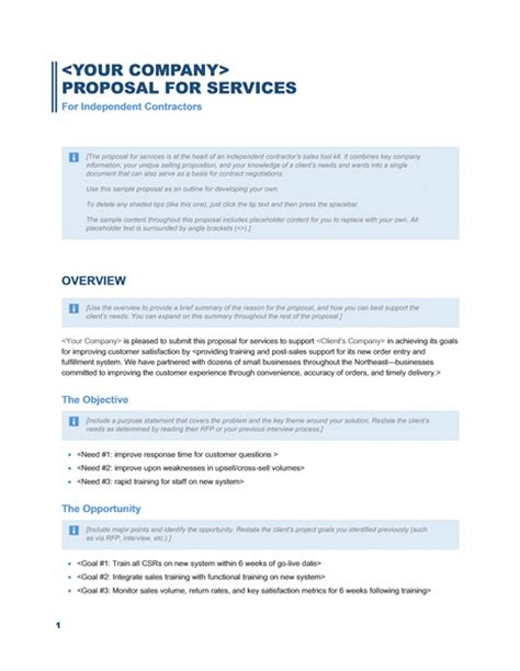 business proposal template free printable documents