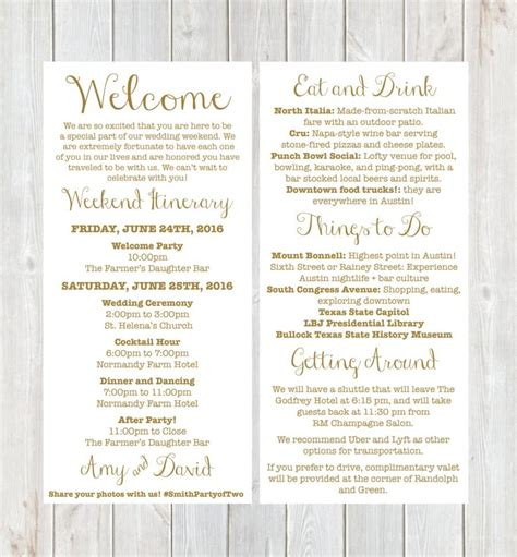 welcome letter weekend itinerary wedding itinerary gold