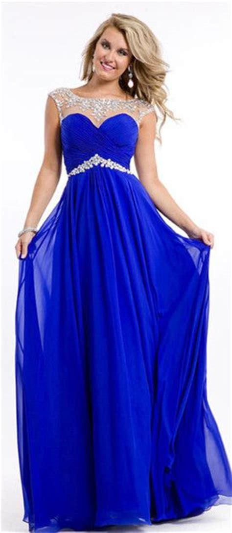 17771 Blue Sale Dress royal blue beadings sleeveless chiffon prom dress on sale dress