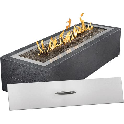 Gas fire pit with glass embers napoleon linear patio flame propane gas