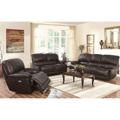 Living Room Furniture Calgary Arleta 3 Top Grain Leather Power Reclining Living Room Set