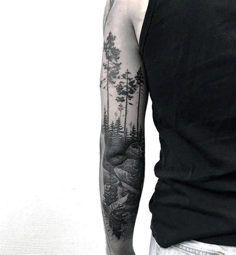 tattoo on arm forest 100 forest tattoo designs for men masculine tree ink ideas