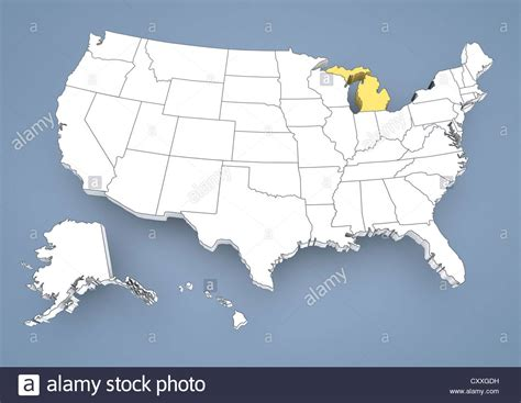 us map with certain states highlighted michigan mi highlighted on a contour map of usa united