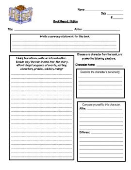 Book Report Templates 6th Grade Non Fiction And Fiction Book Report By Cortez Corner Tpt