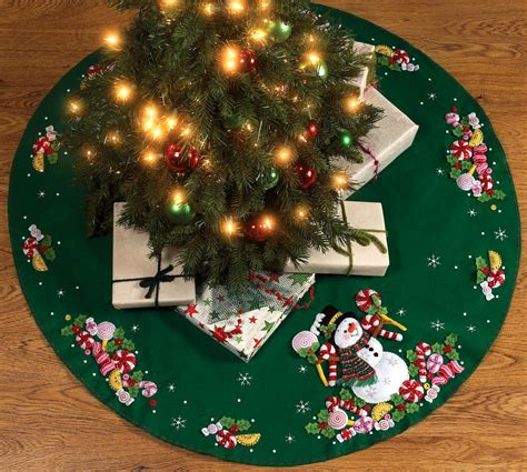 candy snowman 43 quot bucilla felt christmas tree skirt kit