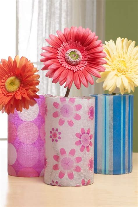 Decoupage With Tissue Paper On Glass - decoupage glass vase glass vase and glasses