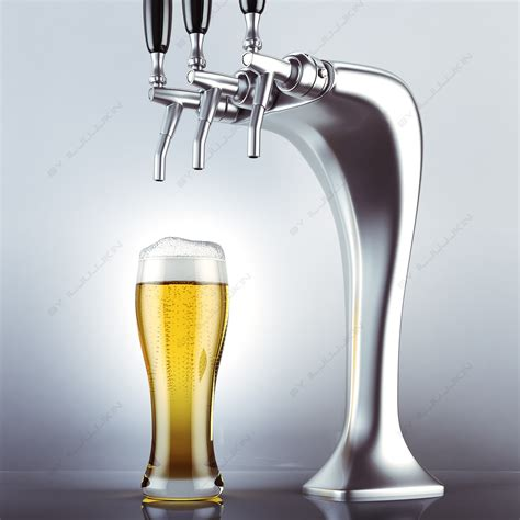 3d Ma Draft Beer Tower Glass Draught Taps
