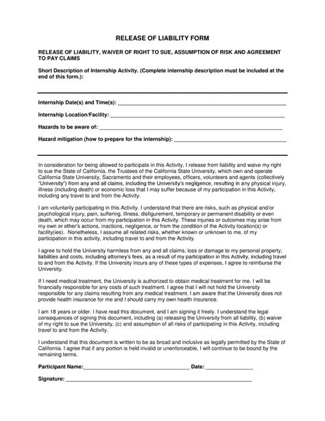 Free California Liability Release Form Pdf Template Form Download Release Of Liability Form Template California