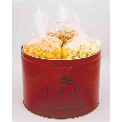 Decorative Popcorn Tins by 2 Gallon Popcorn Tin 3 Kinds Of Popcorn Imprintitems Custom Printed Promotional Products