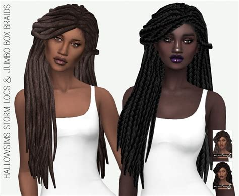 sims 4 female braids hallowsims storm locs jumbo box braids solids at miss