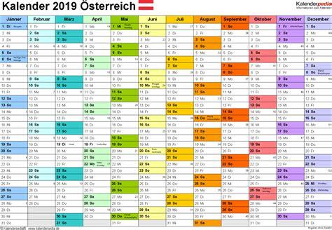 Kalender 2019 Zum Ausdrucken Kalender 2019 214 Sterreich In Excel Zum Ausdrucken